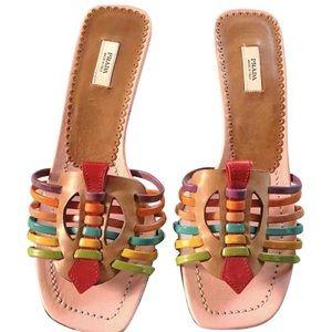 Prada Multicolor Leather Strappy Sandal Heels Sz 5